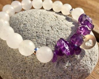 Gemstone bracelet, bracelet, jade, Amethyst bracelet, stretch bracelet, charm bracelet heart bracelet chips bracelet white bracelet