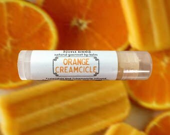 Orange Creamsicle Lip Balm / Orange Lip Balm/ Natural Lip Balm/ Lip Balm/ Vegan Lip balm / Beeswax lip balm / Fruit lip balm / Organic lip
