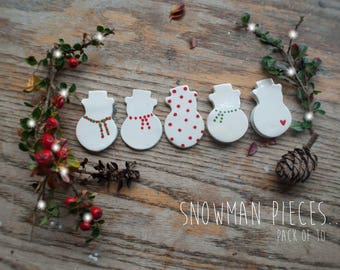 Christmas White Snowman Assortment Clay Pieces (10x Pack)
