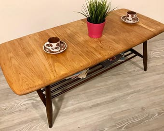 Vintage Retro Mid Century 1960s Ercol Coffee Table in Solid Wood (English Elm)