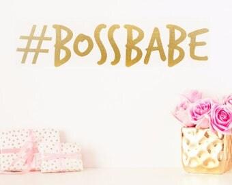 Hashtag Boss Babe Vinyl Wall Decal Sticker