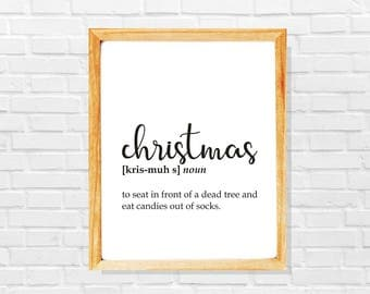 Funny christmas definition print, Dictionary print, Funny christmas joke, Sarcastic definition print, Christmas print, Christmas art print