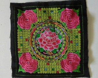 Green and Pink Embroidered Hmong Fabric, Hmong  Tribe, Hmong Hill Tribe Embroidered, Thai Hill Tribe, Hmong Textile, Hill Tribe Handmade.