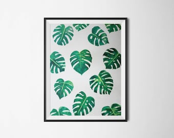 Monstera Leaves - Tropical Palm Leaves - Wall Decor