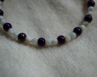 """8"""" Natural stone and glass bead bracelet"""
