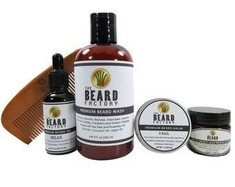 Beard Wash 8 oz, Beard Oil 1 oz, Beard Balm 1 oz, Beard Face Body Butter 1 oz, Beard Comb 5 pack beard kit combo.