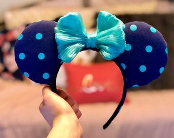 Blue and Turquoise, Polka Dot, Minnie Mouse Ears