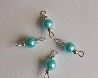 5 connectors 6mm turquoise glass pearl beads