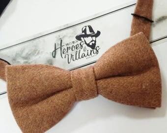 Cinnamon brown bow tie,brown wool bow tie,wedding bow ties, dapper bow ties,groomsmen bow tie,floral bow tie,wool bow tie,wool bow ties