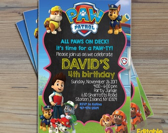 Instant Download-Paw Patrol Invitation,Paw Patrol Birthday,Paw Patrol Birthday Invitation,Paw Patrol Party,Paw Patrol Editable Invitation