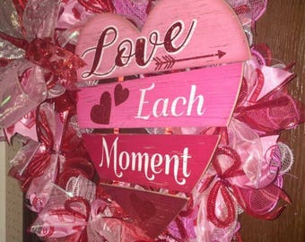 Love Each Moment deco mesh & ribbon wreath