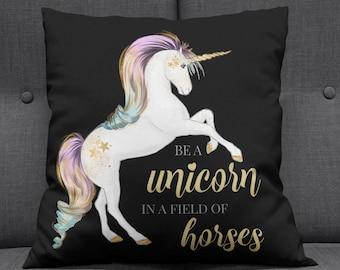 Black Unicorn Cushion, Unicorn Pillow, Unicorn, Unicorn Gift, Unicorn Decor, Unicorn Nursery, Cushion, Nursery Decor, Rainbow Unicorn, Girl