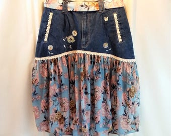 Upcycled Recycled Skirt Denim Jeans to Skirt Refashion Altered Couture Reworked Fashion Blue Bkrd Pink White Flowers Size 18 SKRT3-03