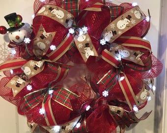 Christmas Wreath, Lighted Christmas Wreath, Snowman Wreath, Holiday Wreath