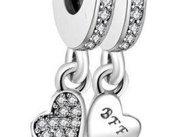 Authentic Sterling Silver Hanging Charm - Best Friends Charm Set - CZ Bead Charm - Fits European and Pandora Charm Bracelet