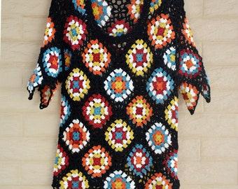 Granny Square Short Sleeve Crochet Top Women Boho Clothing