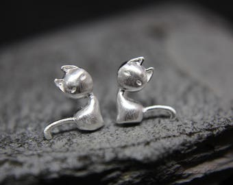 Cat kitten Cat Earrings earrings also for children of 925 sterling silver filigree
