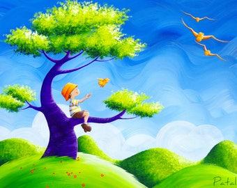 "Giclee print on canvas 60 x 45 ""Children and bird"""