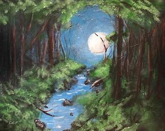 Moonlit Stream 10x8 Acrylic Painting Digital Download
