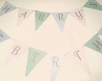 Personalised Birthday Bunting. Happy birthday bunting. Age birthday.