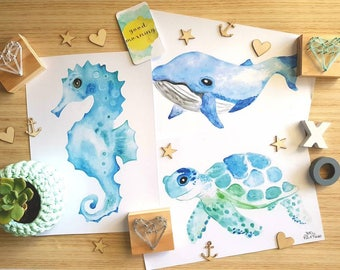 Under The Sea Nursery Prints Seahorse Turtle Whale