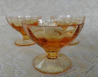 Set of 3 Vintage Amber Glass Dessert Dishes