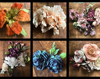 Lot of 25 Vintage Millinery Flowers: Roses, Lilies, Peony, Zinnia