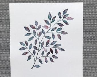 Resilient - Original Watercolor Painting, Minimalistic Leaf Art, Wall Decor, Nature Artwork, Home Interior Design