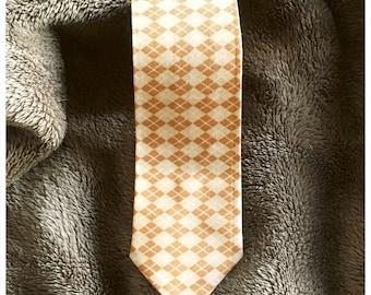 Brown Check Skinny Tie