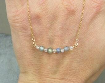 Labradorite necklace ~ Gemstone bar necklace ~ Moonstone and labradorite necklace ~ Layering necklace ~ Labradorite ~ Moonstone ~ Gift ideas