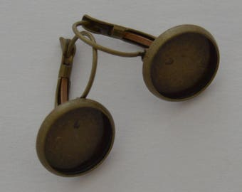 10 blank buckles antique bronze earrings 12mm cabochon