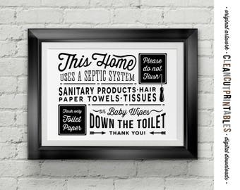 Bathroom Signs Septic Systems septic system | etsy