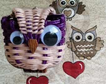 OWL mascot in Japanese paper with lanyard and carabiner