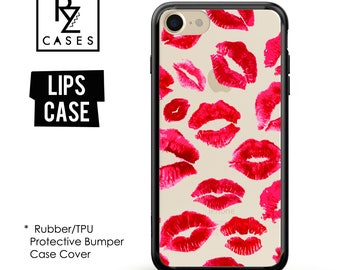 Lips Phone Case, Kisses Phone Case, iPhone 7 Case, Red Lips phone case, iphone 7 Plus, iPhone 6s, iPhone 5, Fashion, Rubber, Bumper