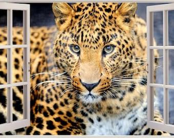 3D Window View Leopard Safari Wall Decal Sticker Frame Mural Effect Home  Decor Bedroom Living Room
