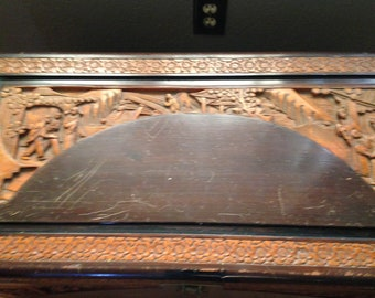19C. Chinese Camphor Wooden Hand-carved Blanket Trunk