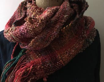 Textured Handwoven Red Scarf