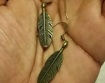 Bronze Feather Earrings