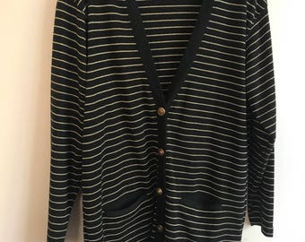 Vintage Talbots gold and black button down cardigan