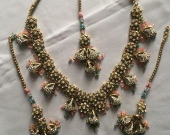 Indian kundan vintage style pink blue Bollywood set