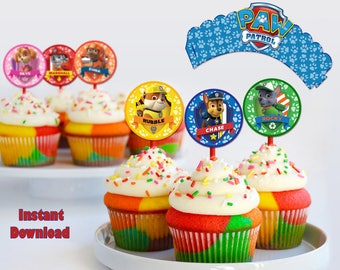 Printable Paw Patrol Cupcakes toppers instant download, Paw Patrol party Toppers, Printable Paw Patrol Toppers, FREE Cupcake Wrappers