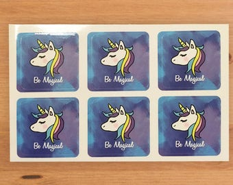 Be Magical - Be A Unicorn Mini Sticker Sheet - Set of 12 - Square Stickers - Cute - 22x22mm - Super Glossy