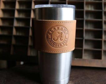 The Officially Licensed Crimson Tide Rocket City Leather Drink Cooler Wrap with Handle – for 20oz Yeti Rambler Tumbler