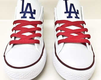 Custom LA DODGERS Womens & Mens Navy Blue/Red/White Low Top Canvas Tennis Shoes