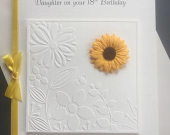 Personalised 3D Birthday Card Any Age 16th 18th 21st 30th 50th 60th 70th 80th 100th Daisy or Sunflower Daughter Niece Friend Granddaughter