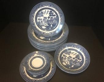 See Of 21 Churchill England White & Blue Willow Dinner Plate Set Dinnerware