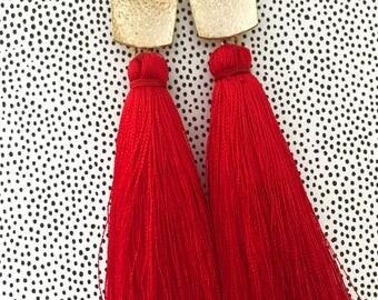 RED Tassle Earrings - Tassel Earrings - Silk Tassle Earrings - Long Tassel Earrings – Gold Triangle Post - Wedding Tassel Earrings