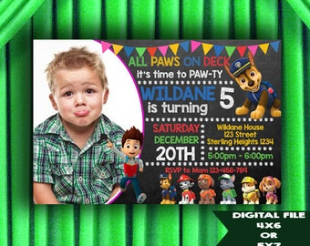 Paw Patrol Invitation, Paw Patrol Birthday, Paw Patrol Birthday Invitation, Paw Patrol Birthday Party