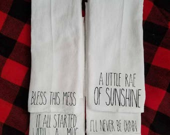 Four Rae Dunn themed tea towels