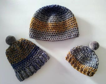 Blue/gray/mustard boys hats, big brother & me or individual